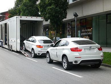 BMW X6 loaded for shipping to China